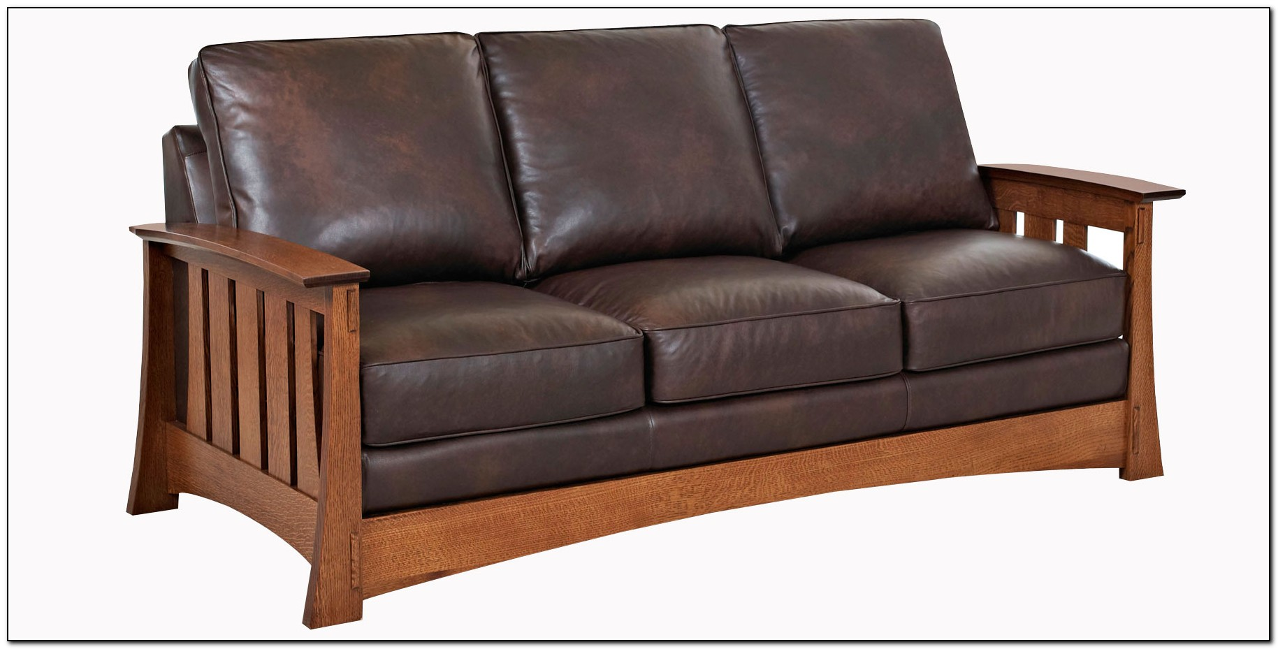 Mission Style Sofa Leather