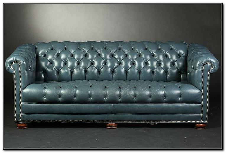 Slate Blue Leather Sofa