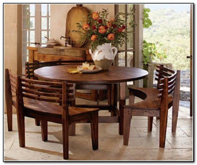 Round Kitchen Table With Bench