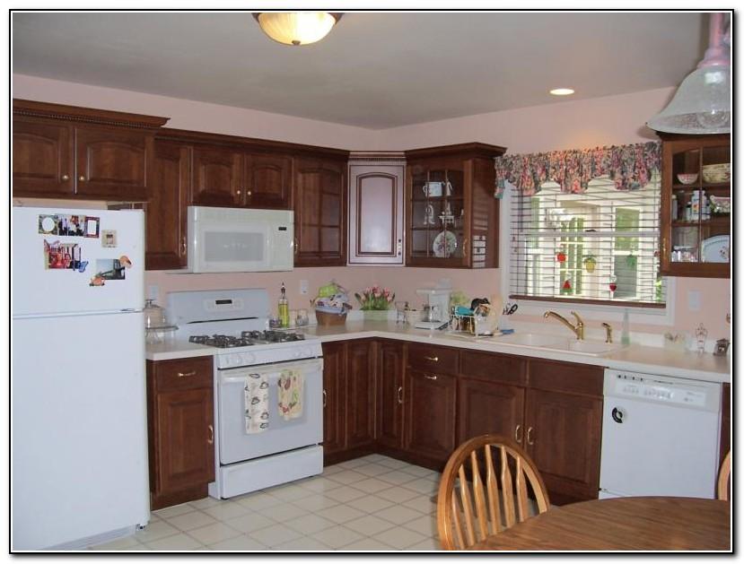 Cherry Kitchen Cabinets White Appliances