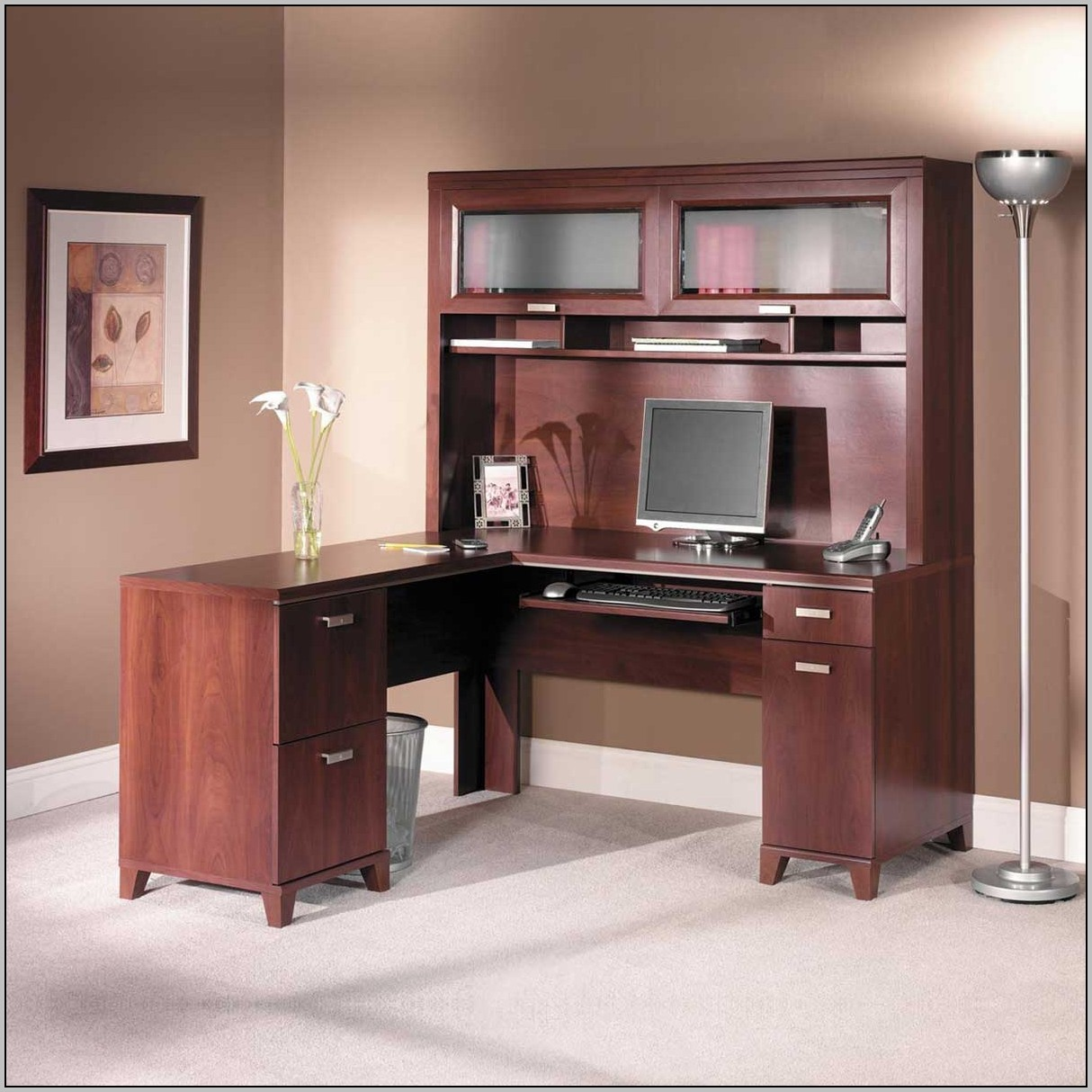 Computer Desk With Hutch Cherry