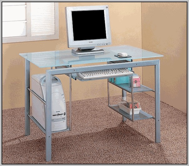 Glass Computer Desk With Shelves