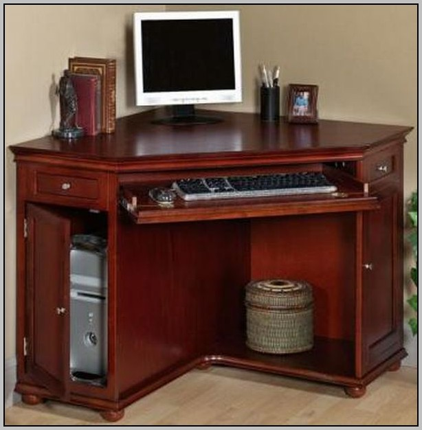 Small Corner Computer Desk With File Drawer