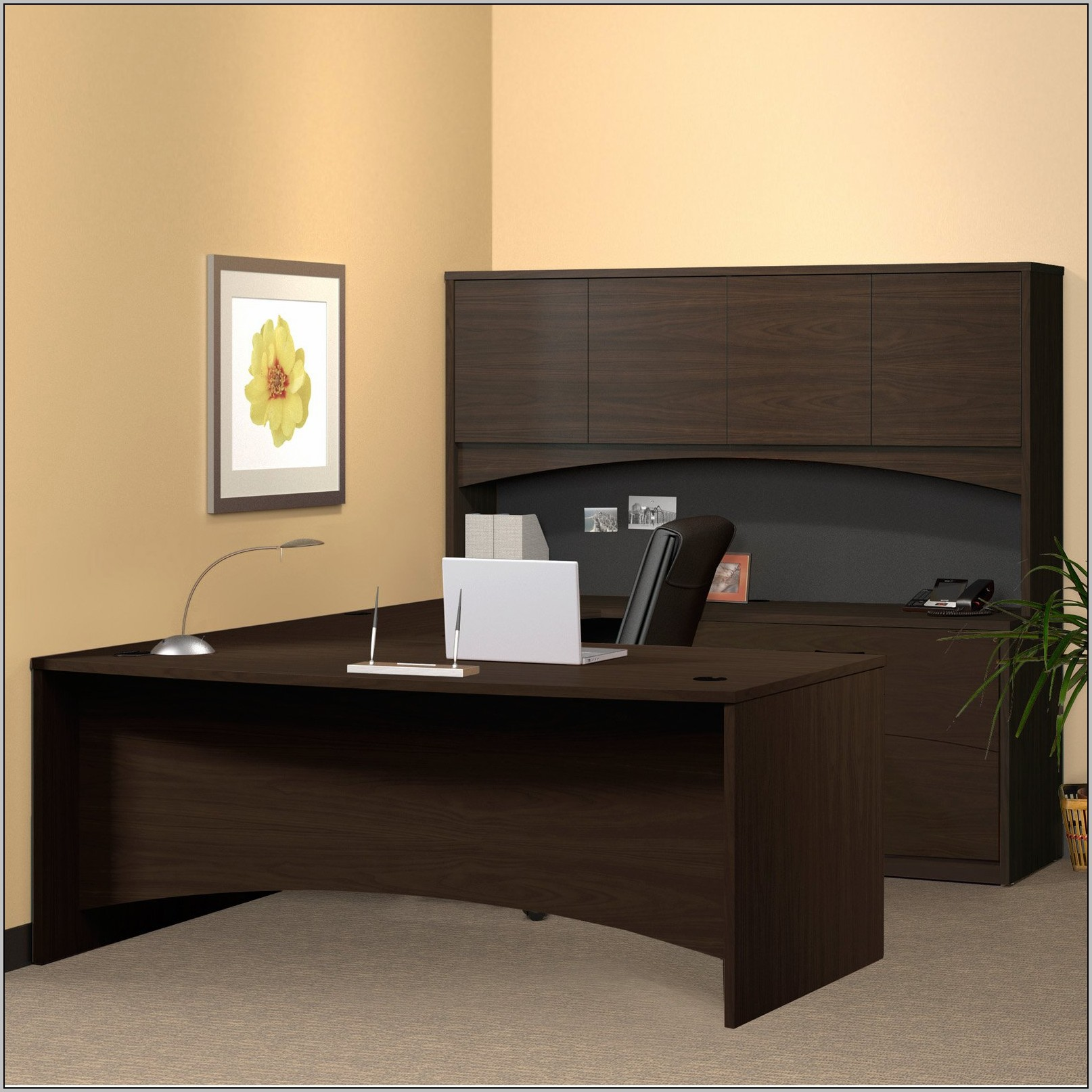 U Shaped Desk With Hutch By Office Source