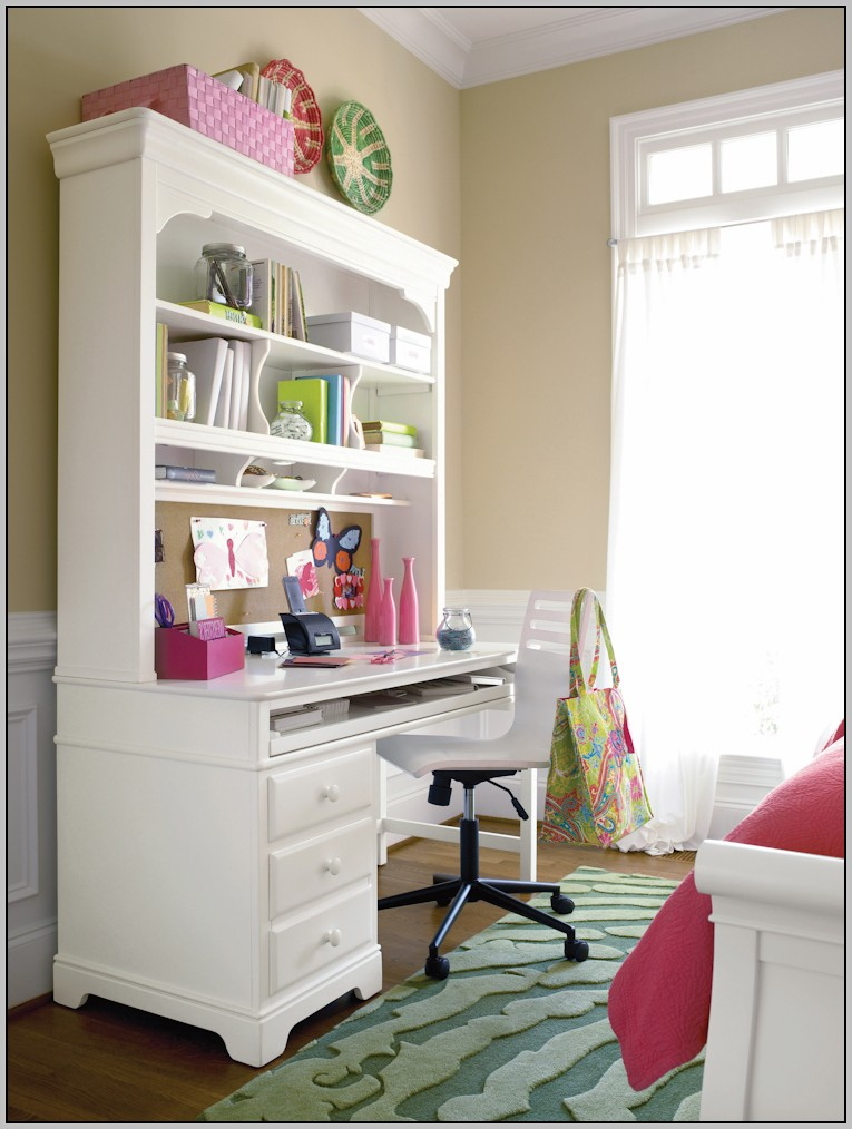 White Desk With Hutch And Cork Board
