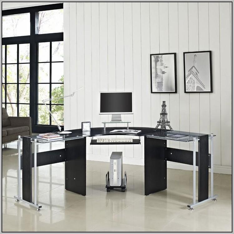Black Glass Computer Desk Ebay
