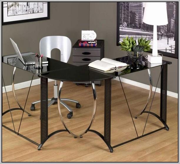 Black Glass Corner Computer Desk