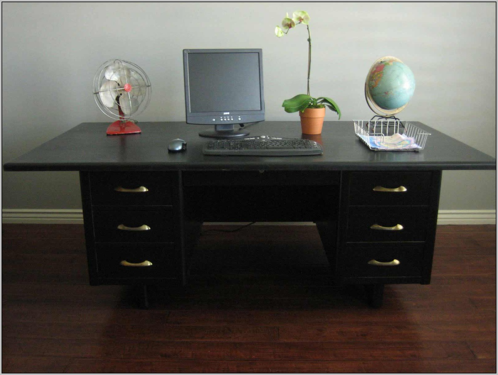 Black Glass Desk With Drawers