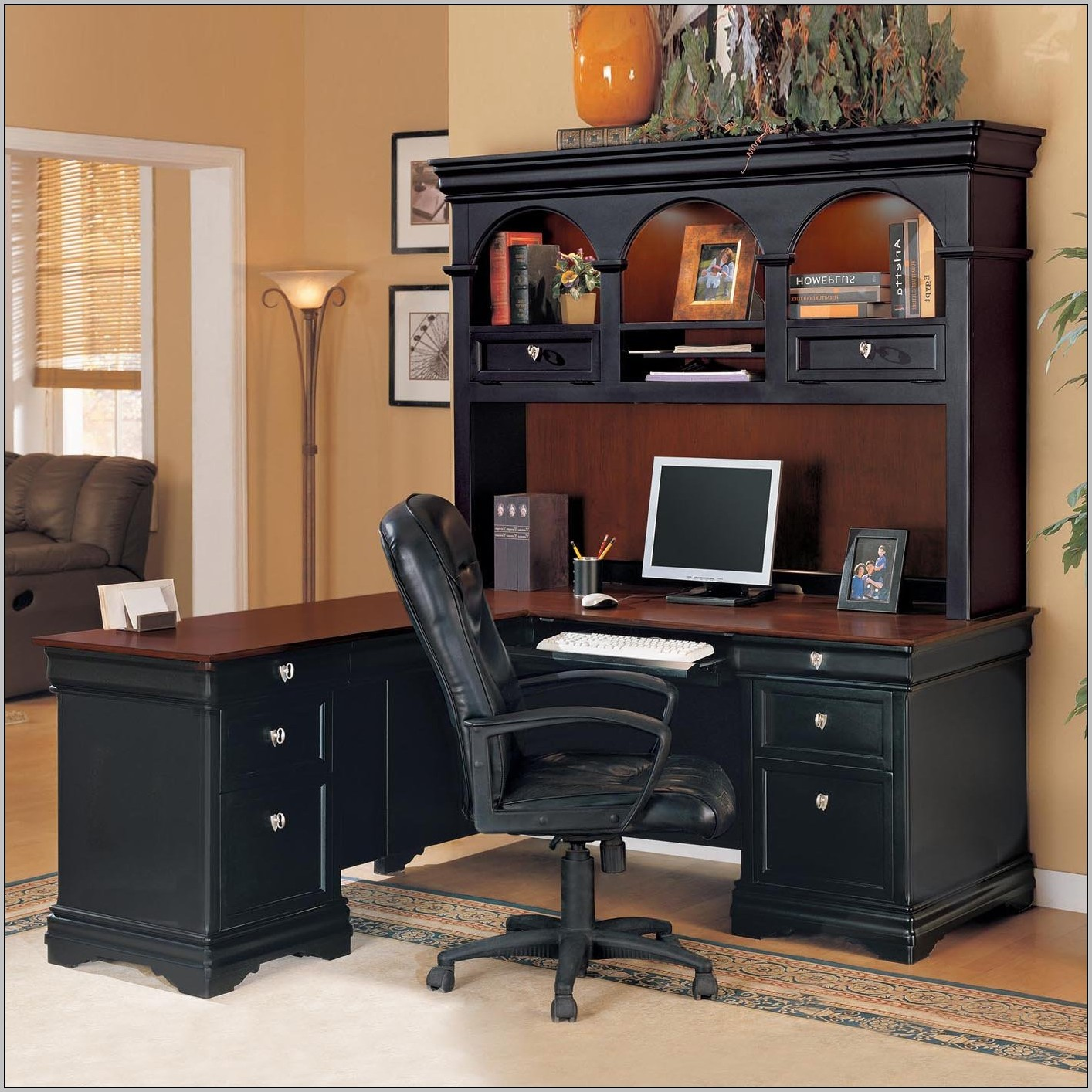 Black L Shaped Computer Desk With Hutch