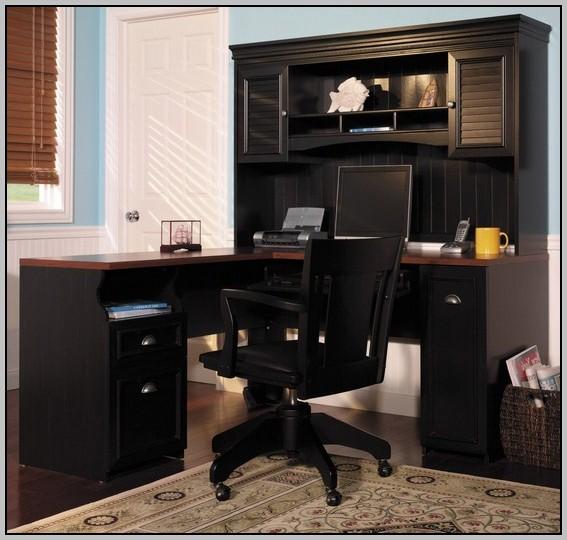 Black Wood Corner Computer Desk