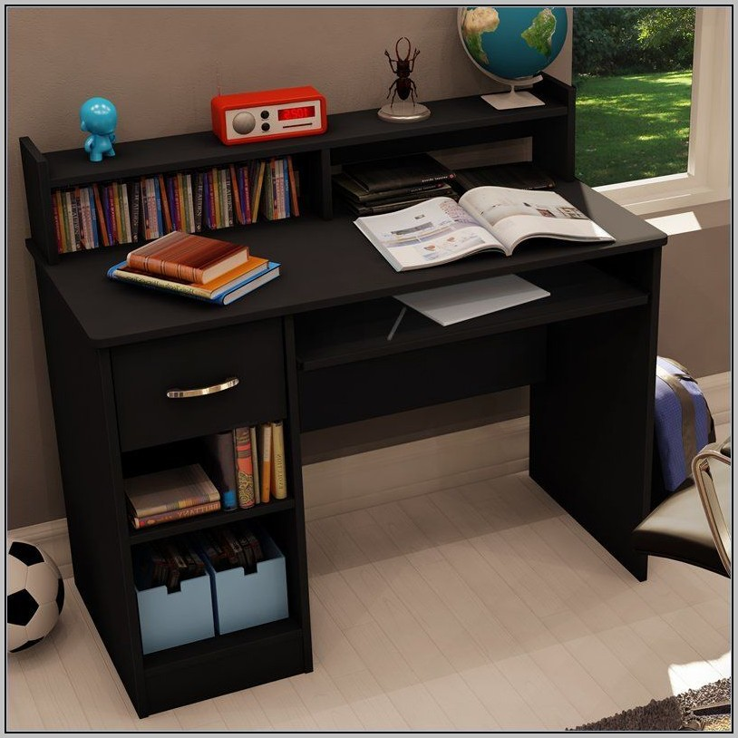 Black Wood Desk With Hutch