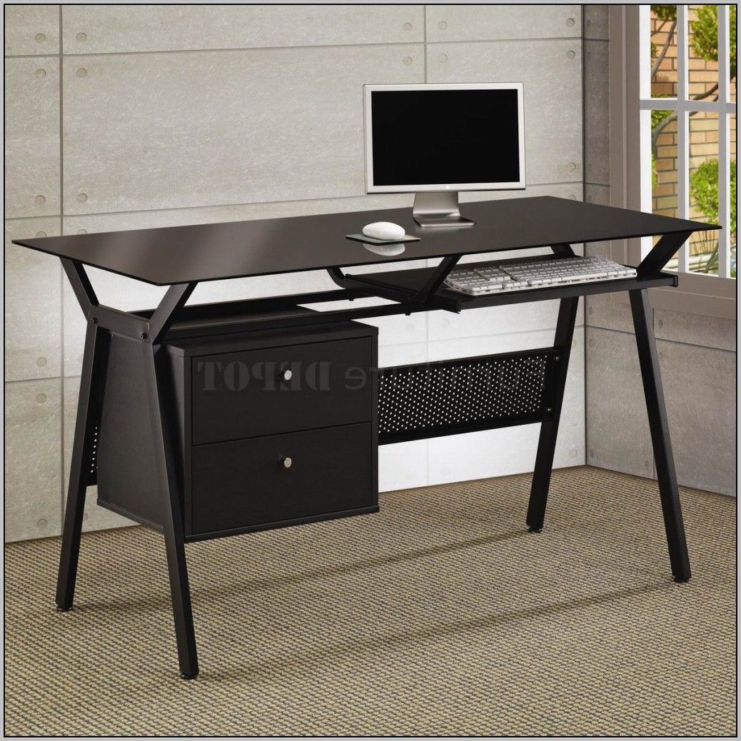 Black Writing Desk With Drawers