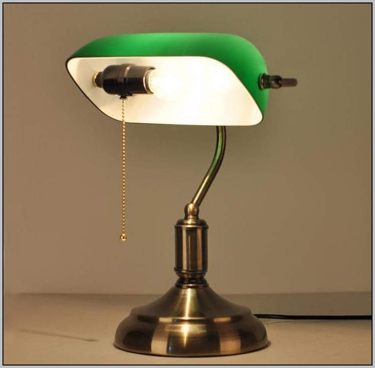 Brass Desk Lamp Green Shade