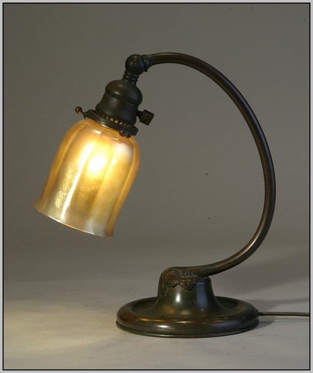 Brass Desk Lamp With Glass Shade