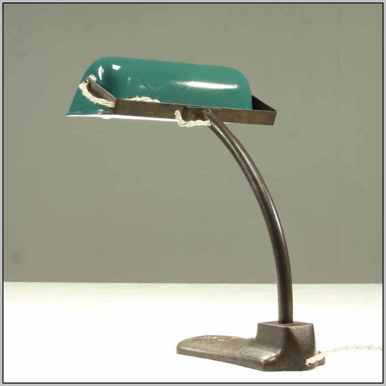 Brass Desk Lamp With Green Glass Shade