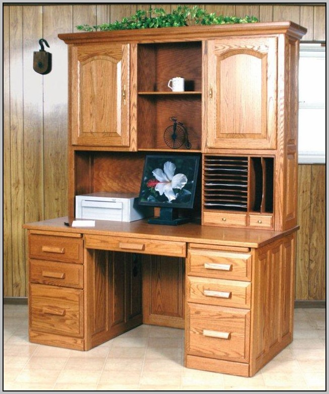 Computer Workstation Desk With Hutch