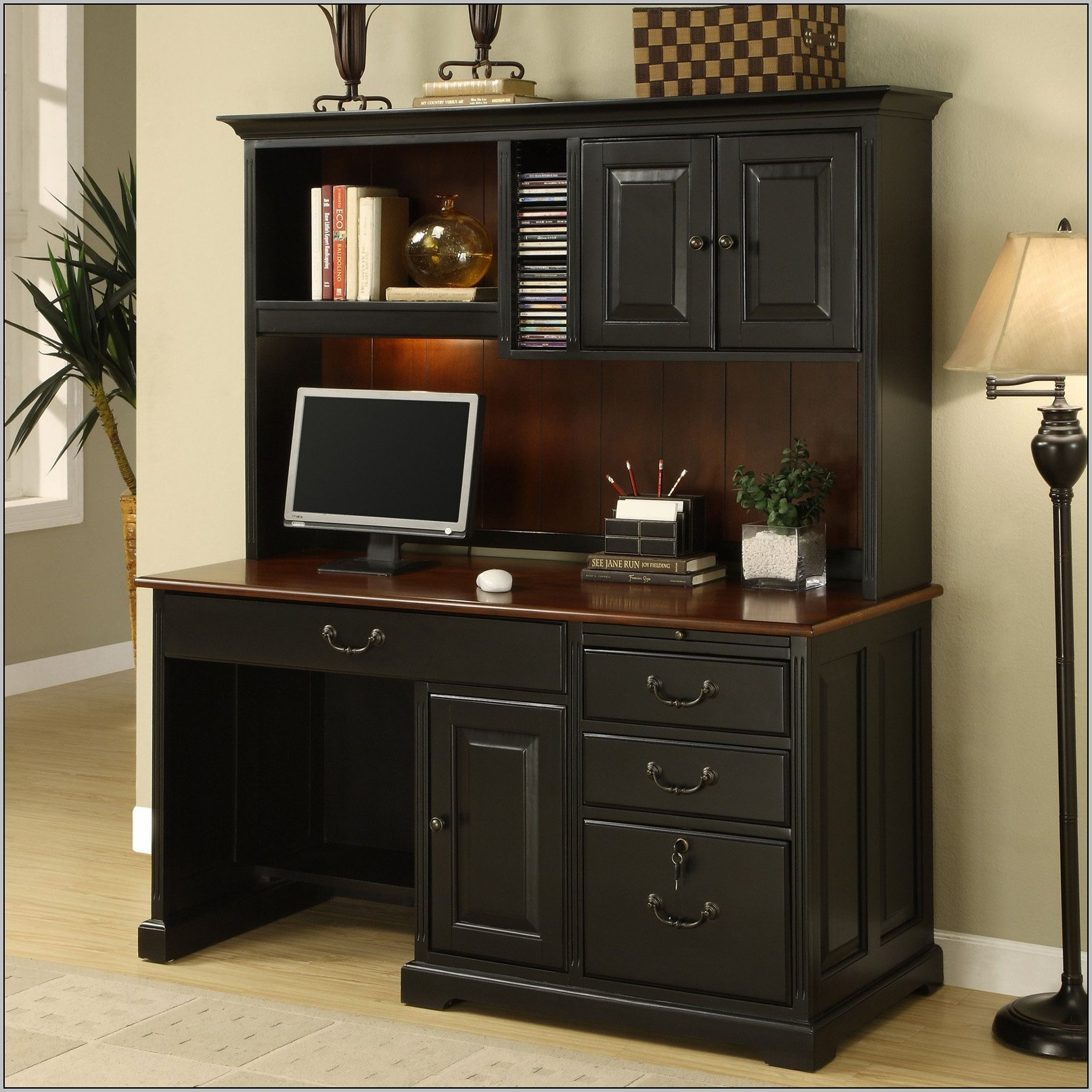 Corner Computer Desk With Hutch Black