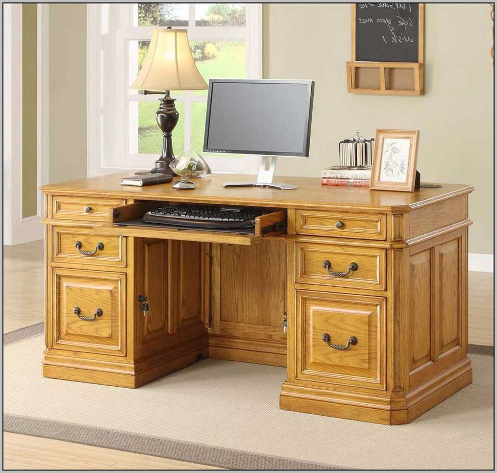 Double Pedestal Desk Oak