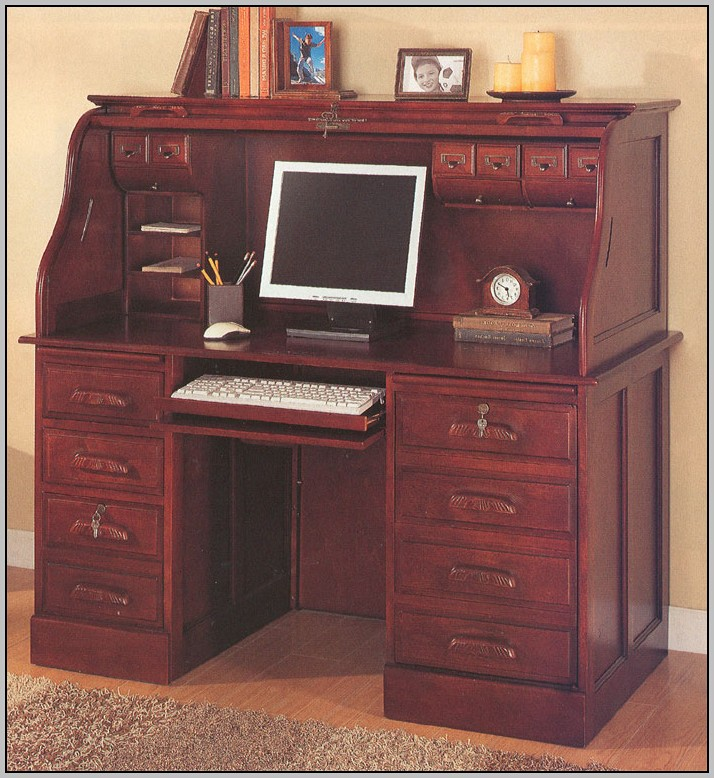 Drop Front Secretary Desk With File Cabinet