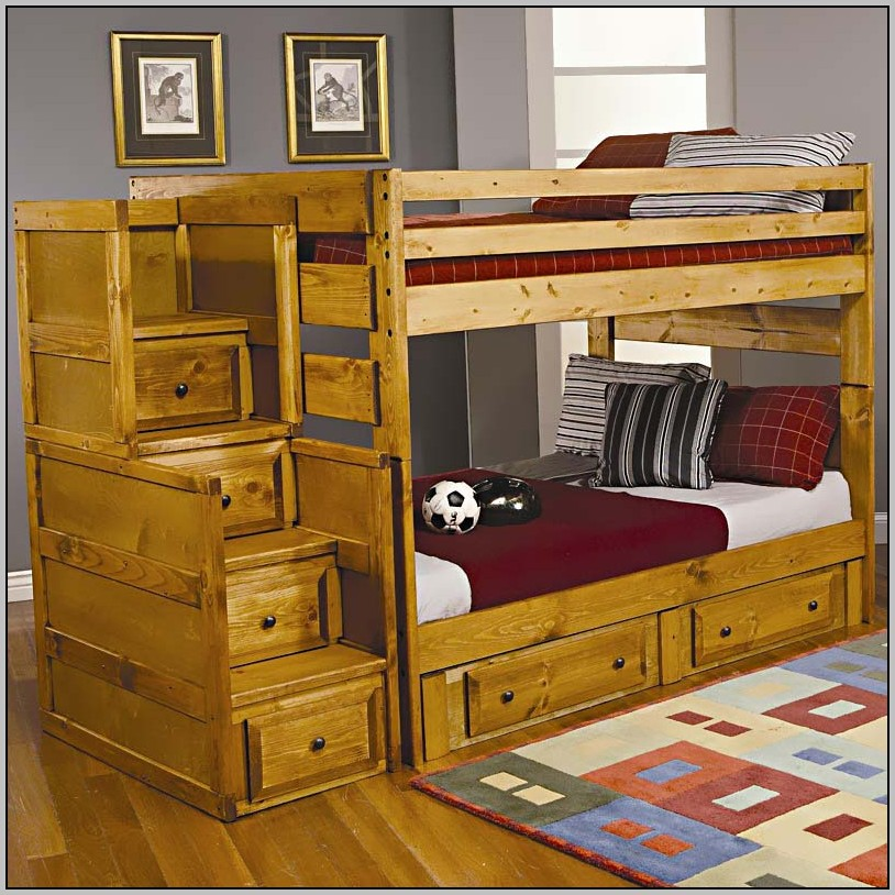 Full Over Full Bunk Beds With Stairs And Desk