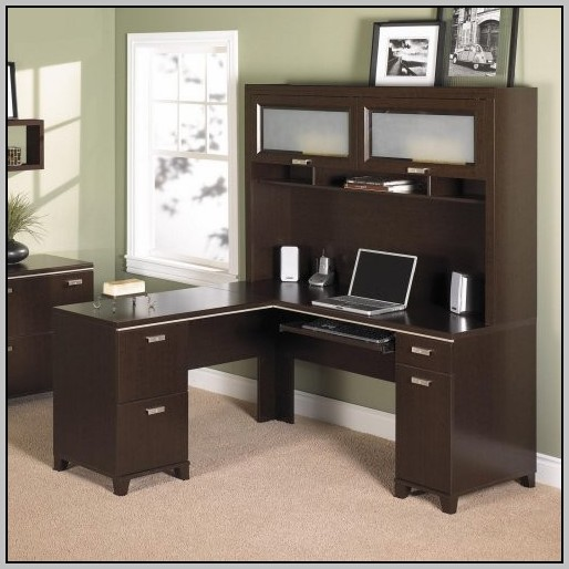 Glass L Shaped Desk With Hutch