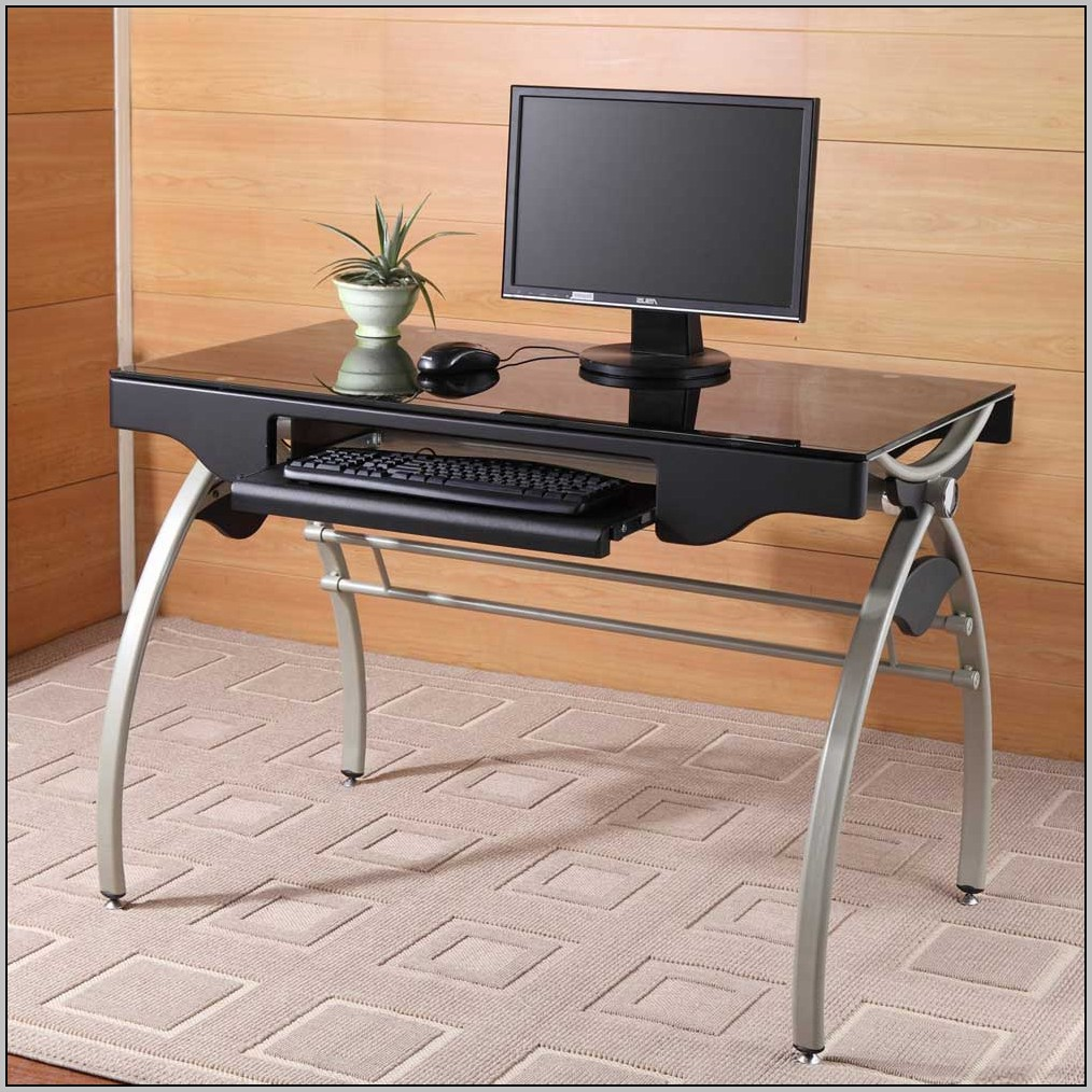 Glass Top Computer Desk With Drawers