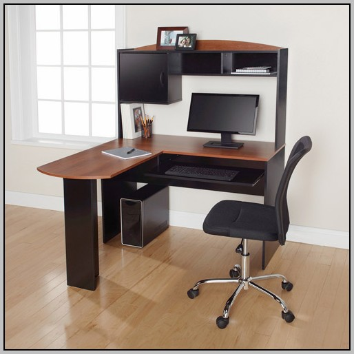L Shaped Computer Desk With Hutch Black