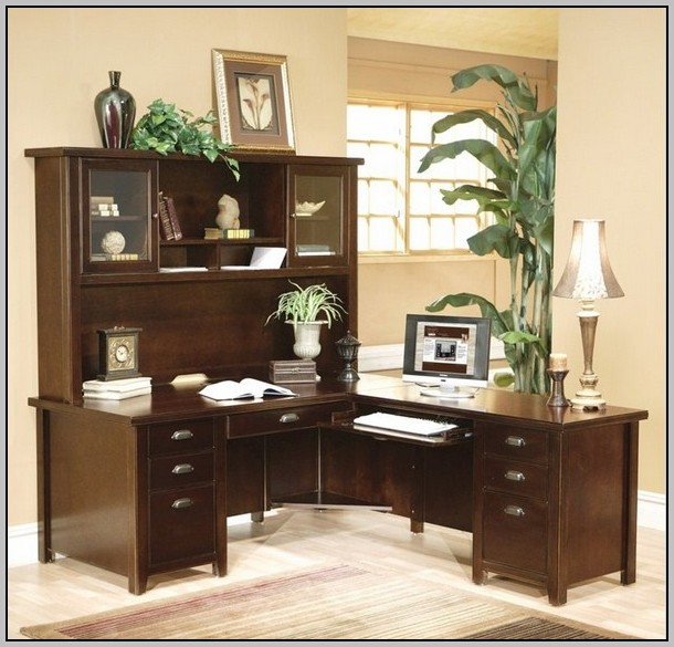 L Shaped Computer Desk With Hutch Cherry