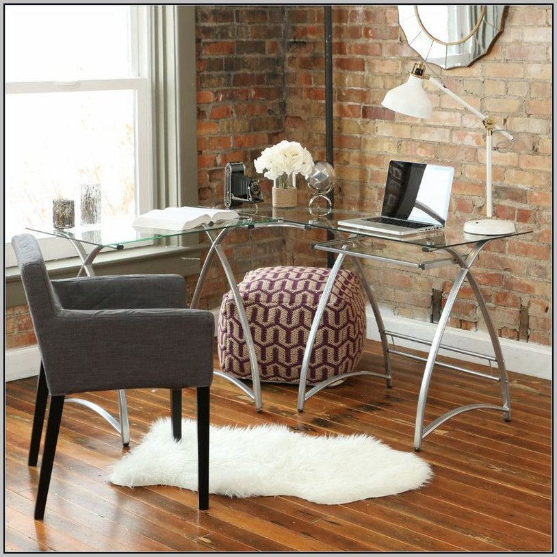 L Shaped Glass Desk Office Max