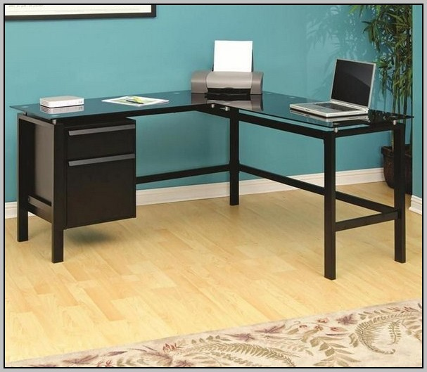 L Shaped Glass Desk With Drawers
