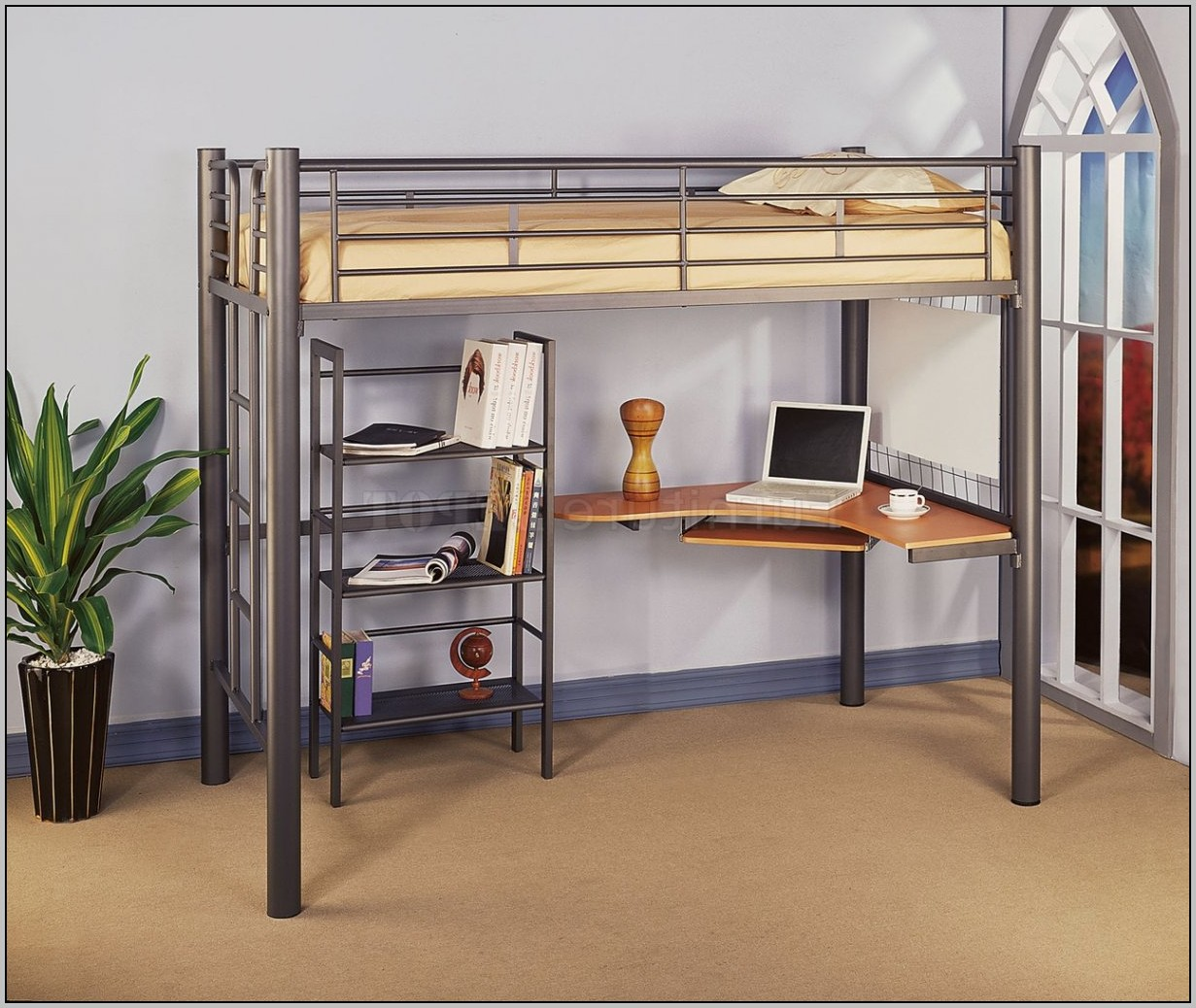 Loft Bed With Desk And Storage Steps