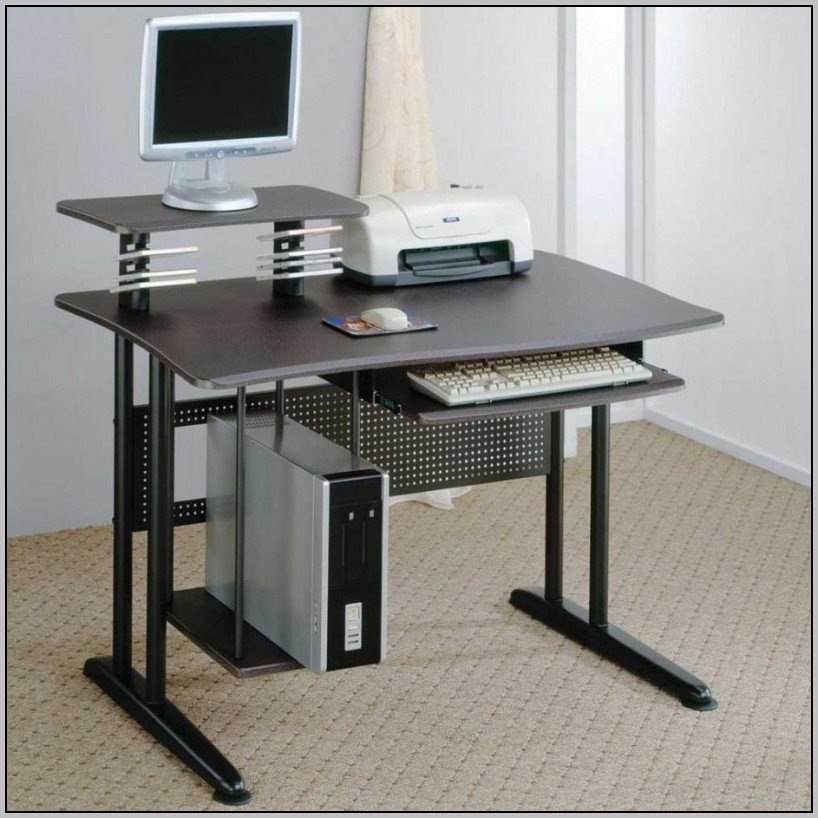 Metal Computer Desk With Hutch