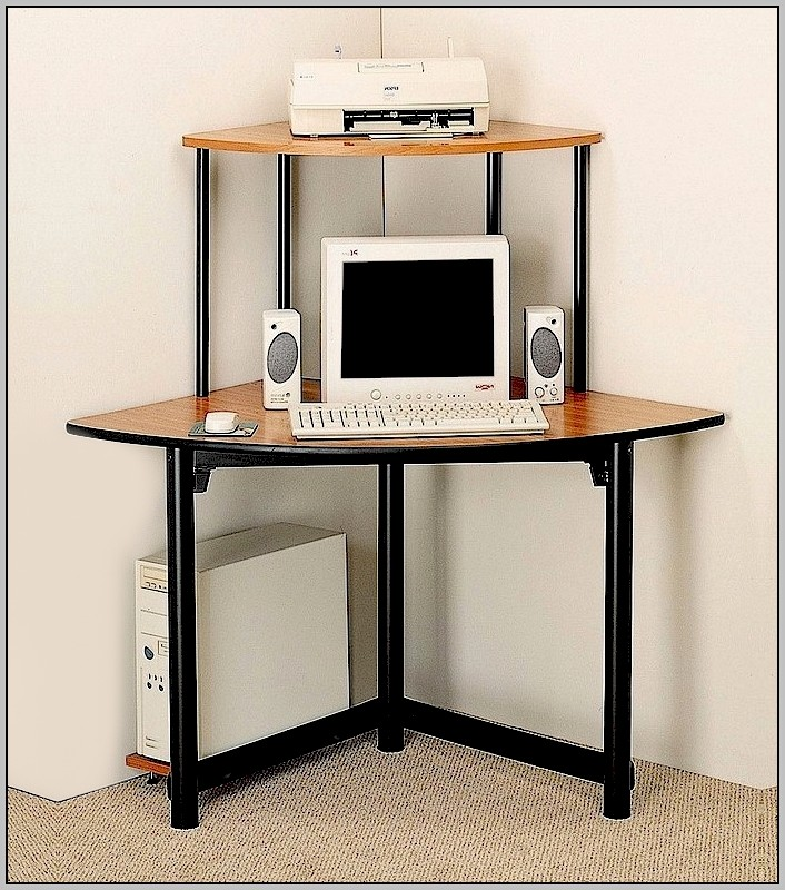 Metal Computer Desk With Shelves