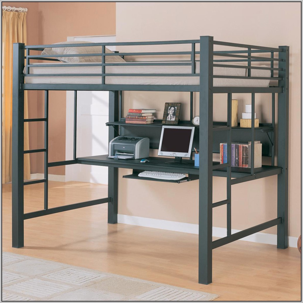 Metal Loft Bed With Desk And Chair