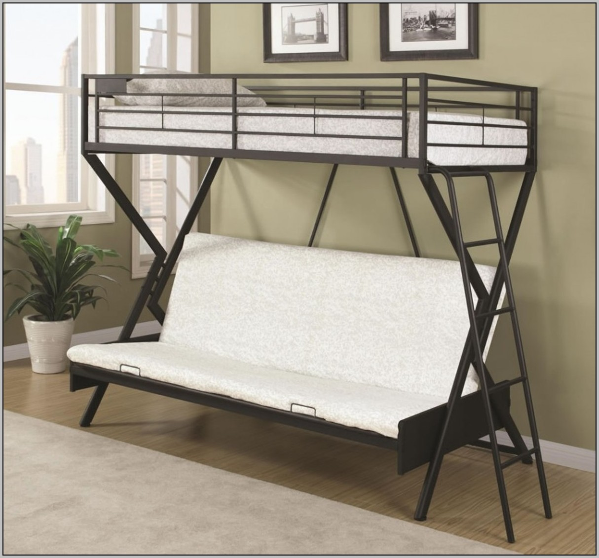 Metal Loft Bed With Desk And Futon