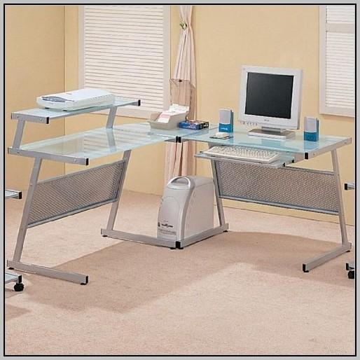 Modern L Shaped Desk With Silver Frame & Black Glass