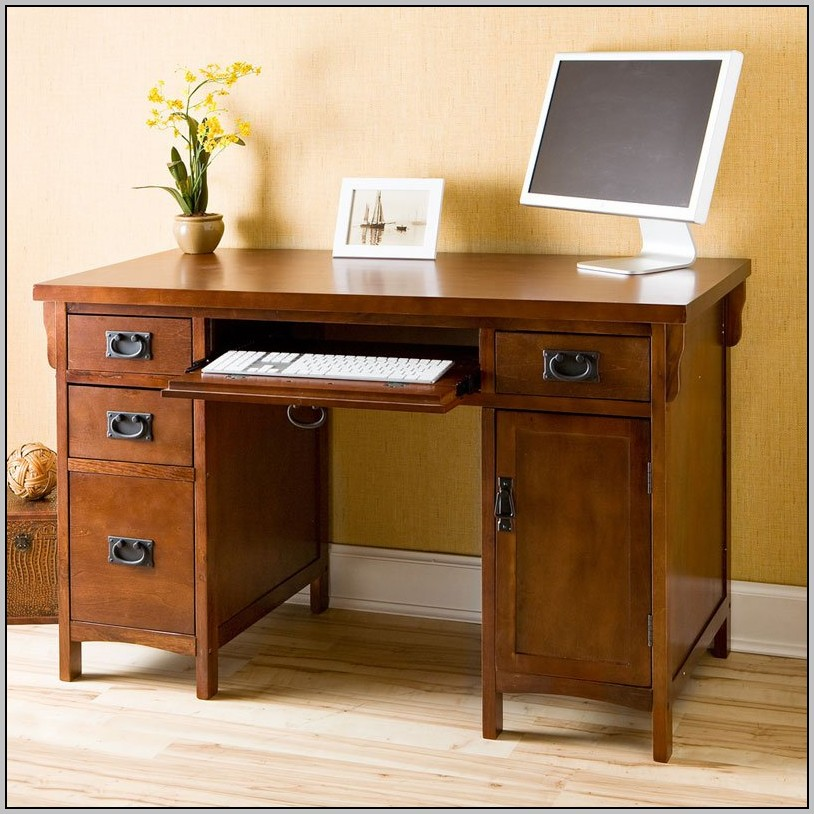 Oak Computer Desk With Drawers