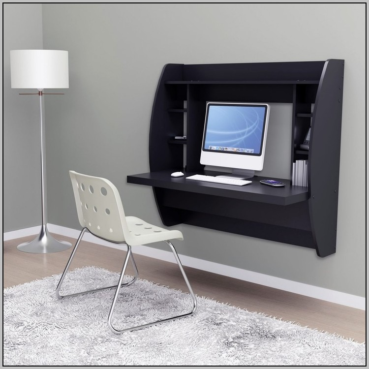 Prepac Floating Desk With Storage Black