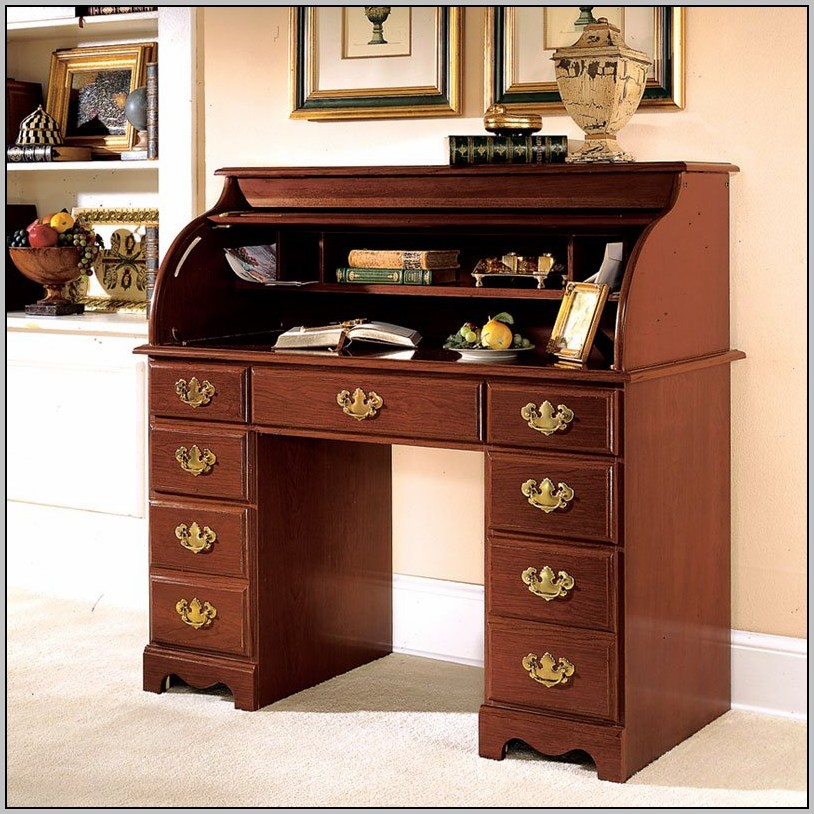 Roll Top Computer Desk Hutch