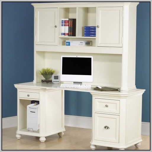 Sauder Harbor View Computer Desk With Hutch White