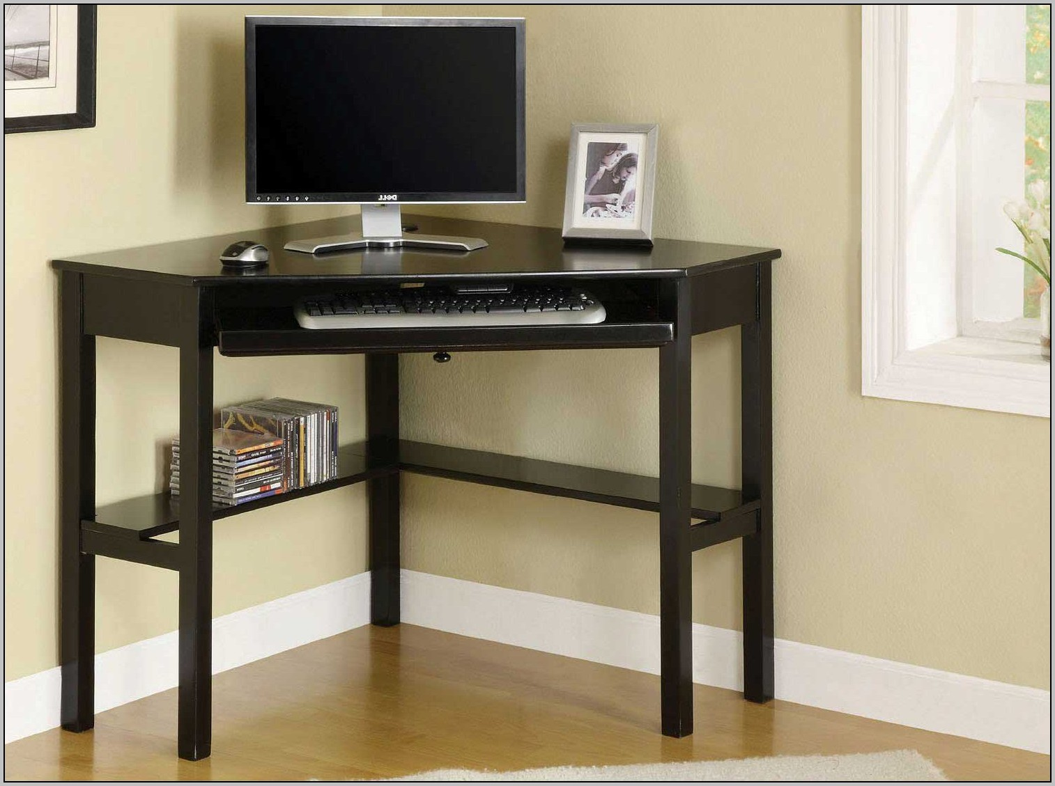 Small Black Corner Computer Desk