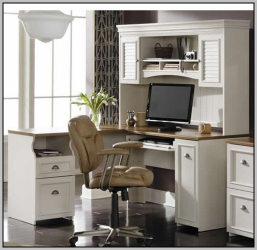 Solid Wood Computer Desk With Hutch