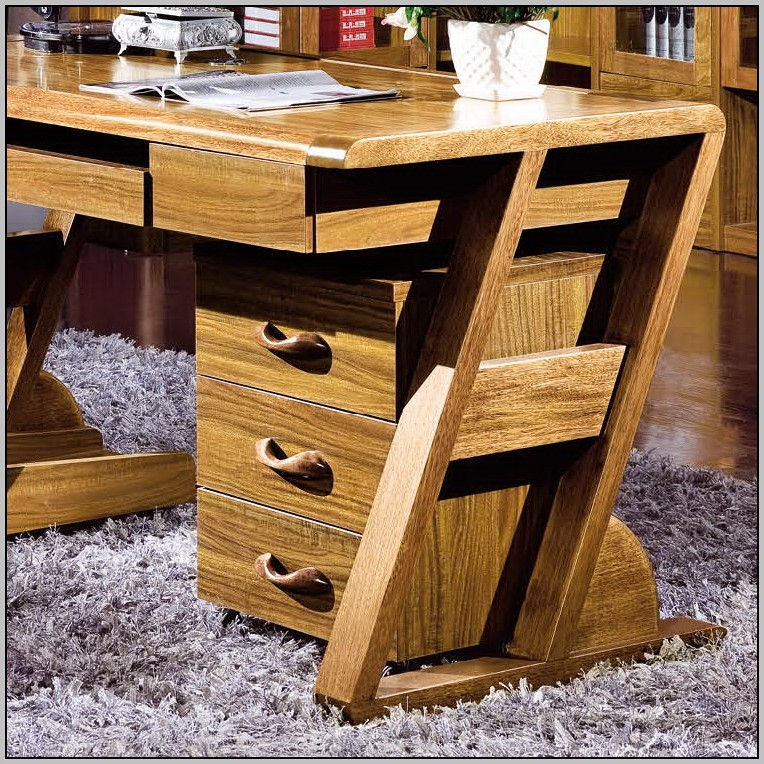 Solid Wood Desk With File Drawer