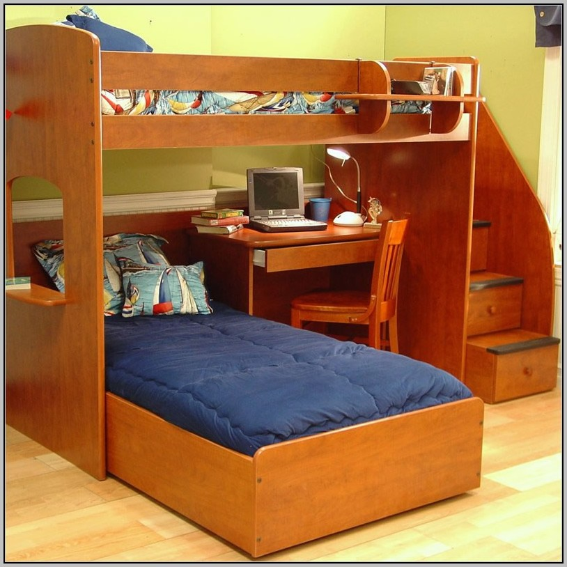 Twin Over Twin Bunk Bed With Stairs And Desk