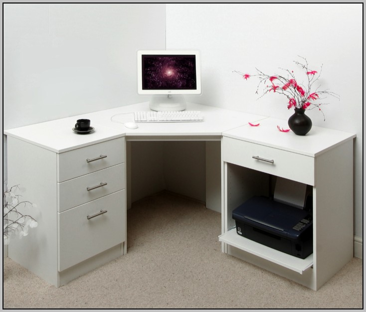 White Corner Desk With Drawers