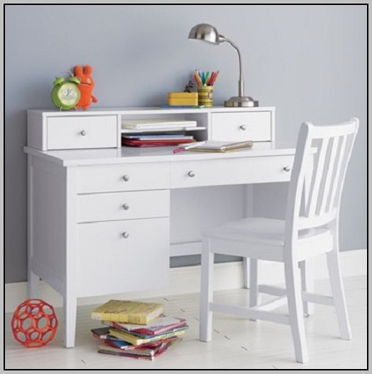 White Desk With Drawers And Shelves