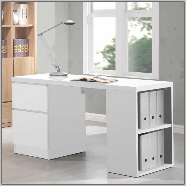 White Desk With File Cabinet