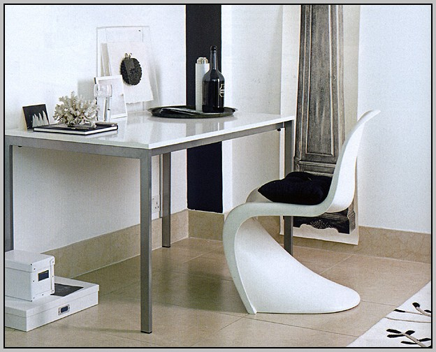 White Ikea Desk With Glass Top