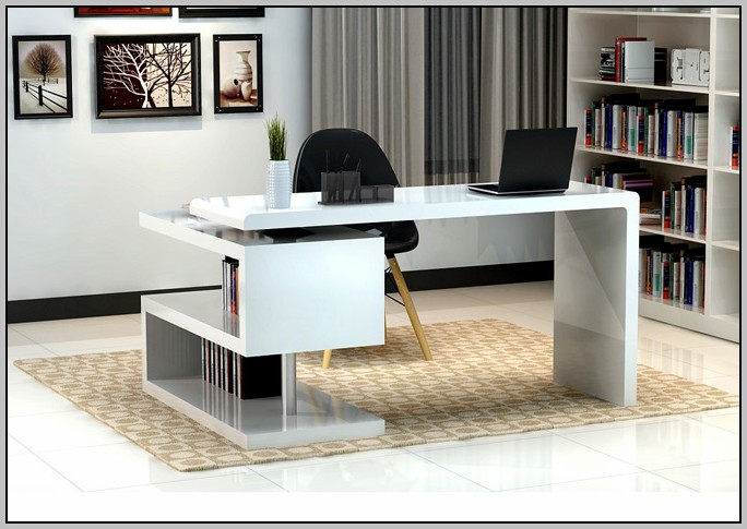 White Lacquer Desk With Chrome Legs