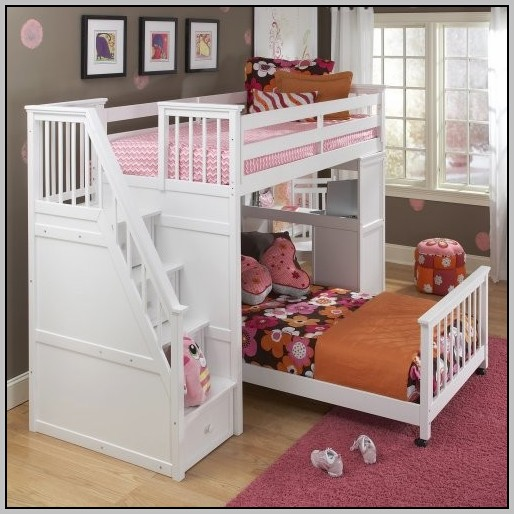 White Loft Bed With Desk And Dresser